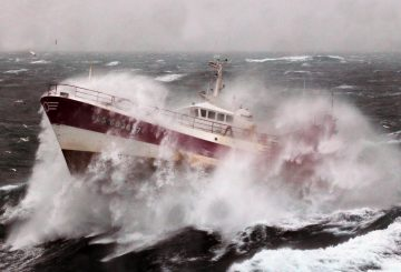 The French Fishing vessel Alf (LS683637) during a storm in the Irish Sea.   The crew of a Royal Navy vessel rushed to the aid of an injured fisherman trapped by bad weather on the Irish Sea.  The Royal Navy Hydrographic survey vessel HMS Echo was carrying out maritime security operations when she received a request for assistance from Milford Haven Coastguard.  The coastguard had already scrambled both an RAF search and rescue helicopter and an RNLI lifeboat to rescue the fisherman, but weather conditions were deteriorating fast.  The 5 metre high swell meant it was not possible to lower a winchman safely onto the French vessel's deck and assist the fisherman who was showing signs of hypothermia.  Once Echo was called in, the 3,500 tonne ship attempted to provide some shelter for the RNLI lifeboat to get alongside the French fishing vessel, Alf, but once again the weather prevented a rescue.  This left them with no choice but to escort the fishing vessel closer inland before the helicopter was able to winch the injured fisherman to safety.